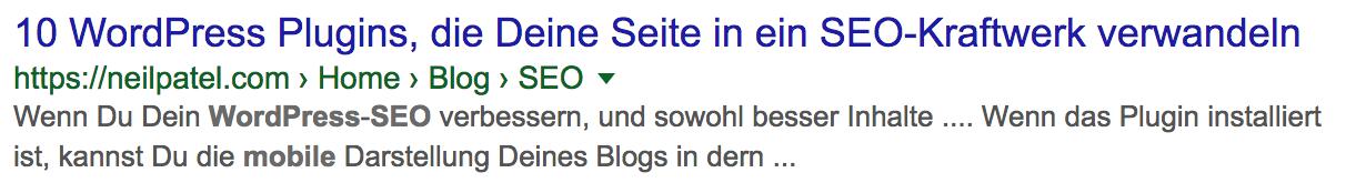 Suchmaschinenoptimierte URL Google SERP