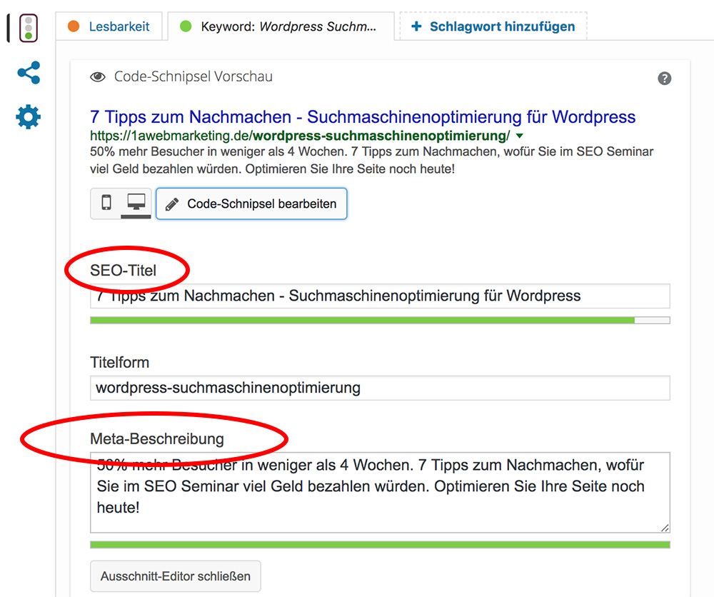 Meta Titel und Meta Description in Yoast Wordpress Plugin