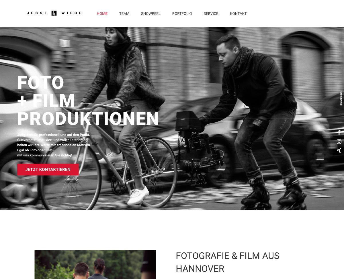 Jesse Wiebe Fotografie & Film Webseite
