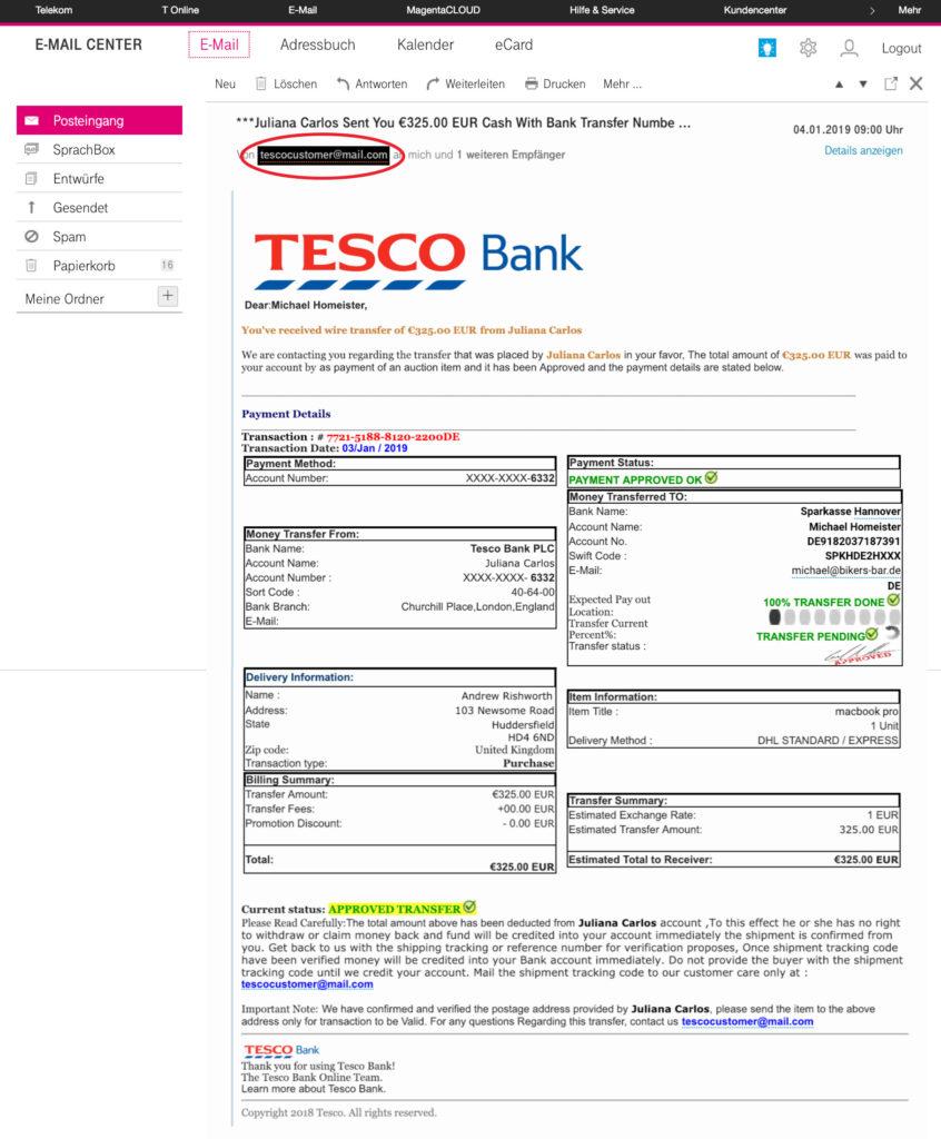 eBay Kleinanzeigen Scammer Bank Email Tesco Bank